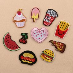 Embellishments & Finishes Burger Fries Embroidery Applique Cloth Diy Sewing Iron On Patch Badge & Garden Cute Patches, Sew On Patches, Iron On Patches, Embroidery Patches, Embroidery Applique, Cute Cartoon Food, Sew On Badges, Diy Accessoires, Clothing Patches