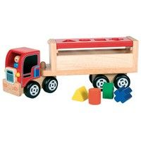 Shape Lorry - Post the load through the correct shaped holes before setting off to deliver these wooden shapes. Wooden Baby Toys, Wood Toys, Nursery Toys, Wooden Shapes, Childrens Gifts, Wooden Puzzles, Educational Toys, Gifts For Kids, Truck