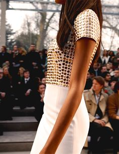 Jourdan Dunn wearing stud detailing on the Burberry Prorsum Womenswear Autumn/Winter 2013 runway