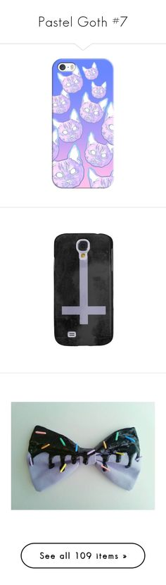 """""""Pastel Goth #7"""" by ironically-a-strider21 ❤ liked on Polyvore featuring accessories, tech accessories, phone case, iphone case, iphone cover case, apple iphone cases, phone, samsung, hair accessories and black hair accessories"""