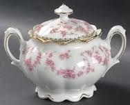 bridal rose china - Google Search.    It has always amazed me how the same floral pattern has been used on so many different china shapes.