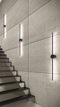 The Stripe fixture was designed to be easily rotated once mounted to the wall or ceiling. Mount it vertically, horizontally or at an angle to create your desired look. Linear Lighting, Strip Lighting, Cool Lighting, Modern Lighting, Lighting Design, Corridor Lighting, Home Design Decor, Home Room Design, Staircase Railings