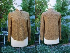 256c00591f53f 1990 s Silk Leopard Cheetah Blouse Size Petite Small Spenser Jeremy Vintage  Retro 90 s Shirt Top Browns and Black Animal Print Africa