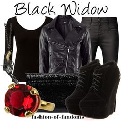 """Black Widow"" by fofandoms on Polyvore Love this whole thing!"