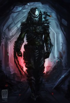 AvP 2 Tribute painting for the game's third Predator mission Alien Vs Predator, Wolf Predator, Predator Alien, Apex Predator, Fantasy Demon, Dark Fantasy Art, Les Aliens, Alien Art, Universe Art