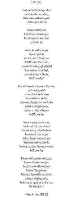Poetry :: Week 3 :: Little Donkey ~ Walter de la Mare, 1873-1956