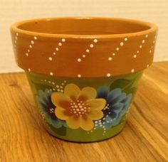 4 brown pot with yellow and blue flowers by HandPaintedByTrish, $6.00