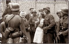 Russian women fraternizing with German soldiers in occupied Russia. Perhaps they were too hasty in betting on the German side.