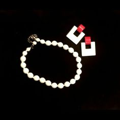"""Vintage White Milk Glass Necklace w/Earrings Get ready for the Fourth of July! Beautiful Vintage Faceted White Milk Glass Necklace w/ Vintage Red & White Clip-on  Earrings. They look great together, or separately.  Necklace is adjustable to 16"""". Earrings are 1.75"""" x 1.25"""". Pristine condition! Vintage Jewelry Necklaces"""