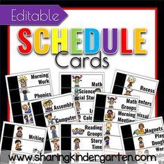 EDITABLE schedule cards for the kindergarten classroom