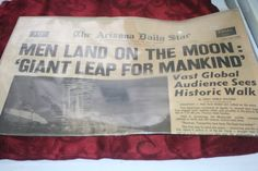 ON SALE 1969 Newspaper Man On The Moon The by VintageCastaways
