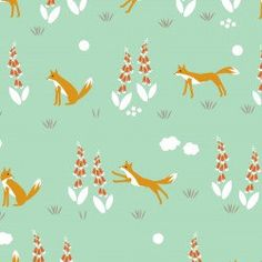 Fox Fabric | Sage | Cute Fox Fabric | Light Green | Cloud9 Organic Fabric | Floral Print | Nursery Decor | Woodland | Enchanted Forest