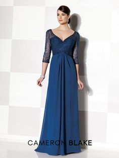 Cameron Blake - 215628 - Chiffon slim A-line gown with hand-beaded illusion three-quarter sleeves and front and back V-necklines, sweetheart bodice, beaded empire bodice, center gathered skirt, sweep train.Sizes: 4 – 20, 16W – 26WColors: Navy Blue, Mink, Dark Plum, Teal, Periwinkle