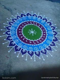 Rangoli Day 25 blue | www.iKolam.com Rangoli Designs Latest, Latest Rangoli, Simple Rangoli Designs Images, Rangoli Designs Diwali, Diwali Rangoli, Rangoli Designs With Dots, Easy Rangoli, Mehndi Designs, Beautiful Mehndi Design