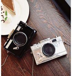 New-shining-PU-camera-shape-small-cute-long-shoulder-bag-clutch-silver-black
