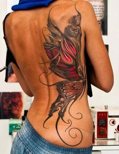 Beautiful butterfly back tattoo