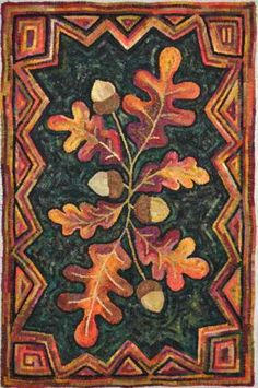"""""""William Pickering Oak"""" designed and hand hooked by Gene Shepherd using wool from a """"Pancake Dye"""" process. Pattern for dollhouse rug Rug Hooking Designs, Rug Hooking Patterns, Hook Punch, Punch Needle Patterns, Leaf Patterns, Rug Inspiration, Hand Hooked Rugs, Penny Rugs, Wool Applique"""