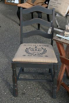 Repainted Vintage Chair | Recovered With Burlap | French Transfer (or Stencil) Applied