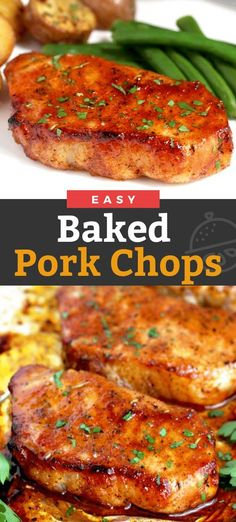 pork chop recipes Oven Baked Pork Chops seasoned with a quick spice rub and baked to perfection. This baked pork chop recipe produces tender, juicy and flavorful pork chops every time! Oven Pork Chops, Easy Baked Pork Chops, Juicy Pork Chops, Baked Pork Steaks Oven, Skillet Pork Chops, Honey Garlic Pork Chops, Cooking Pork Chops, Vegetables, Junk Food