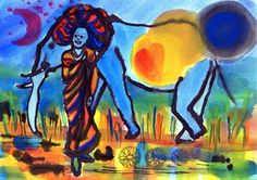 Improv painting Woman elephant and moon