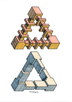 #impossible #penrose #triangle #mathart #regolo54 #escher #handmade #oscareutersvärd #isometric