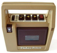 Fisher -Price cassette player. I had this very one. Played everything from my barbie cassettes to my M.C. Hammer you can't touch this on it,