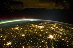 Planet Earth night view with illuminated cities seen from the International Space Station with Aurora Borealis over the earth in Sept Time Lapse Images courtesy of NASA Johnson Space Center Citizen Science, Earth At Night, Earth View, Nasa Photos, Earth Photos, Space Planets, Star Wars, Earth From Space, Pretty Lights