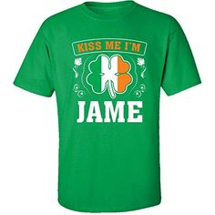 Kiss Me Im Jame And Irish St Patricks Day Gift  Adult Shirt 5xl Irishgreen *** Details on product can be viewed by clicking the image