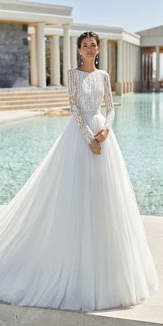 30 Cute Modest Wedding Dresses To Inspire 30 Cute Modest Wedding Dresses To Inspire ❤ modest wedding dresses ball gown with long sleeves lace top rosa clara Blue Bridesmaid Dresses Uk, Modest Wedding Dresses With Sleeves, Lace Dress With Sleeves, Long Wedding Dresses, Long Sleeve Wedding, Different Wedding Dress Styles, Rosa Clara Wedding Dresses, Ceremony Dresses, Long Sleeve Gown