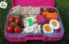 Healthy Yumbox bento lunch. Lunchbox, sandwich cutters and food picks all from www.thelunchboxqueen.co.nz. Lunchbox Inspiration – The Lunchbox Queen