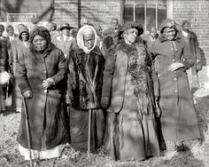 "Washington, D.C., 1916. ""Convention of former slaves. Annie Parram, age 104; Anna Angales, age 105; Elizabeth Berkeley, 125; Sadie Thompson, 110."" Remarkable women to whom life should have been kinder."