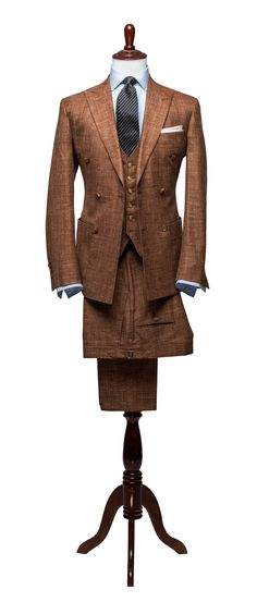 Articles of Style store /// rust hopsack 3 piece suit /// 38% Wool, 31% Silk, 31% Linen, Imported from Italy
