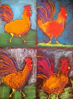 """Sample of the grade Roosters! Worked on the """"Art Show & Sell"""" fundraiser that will happen on the at the kids school. Oil Pastel Art, Chalk Pastel Art, Oil Pastels, Art Lessons Elementary, Art Lessons For Kids, Animal Art Projects, 4th Grade Art, Farm Art, School Art Projects"""