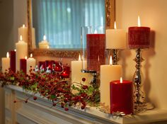 Gorgeous Mantle Setting in traditional red and white or change colors for different holidays