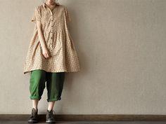 Light Flower Cotton short sleeved dress Open Dress Long Shirt for women Dress