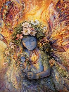 "Fairy's Fariy by Josephine Wall. ""As this enchanting little creature examines the tiny look-alike in her hands, she discovers yet another even smaller likeness, so beautiful and perfect, in the delicate hands of her twin. With joy, she sees yet another and another tiny fairy just like herself, her delight being magically repeated into infinity."" J.W"