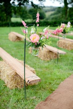 Aisle Pew End Flowers Hooks Peonies Peony Hay Bales Outdoor Colourful Pastel Home Made Farm Wedding http://helencawtephotography.com/