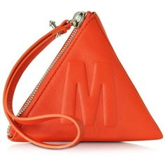 McQ Alexander McQueen McQ Script Coral Red Leather Pyramid Clutch (£105) ❤ liked on Polyvore featuring bags, handbags, clutches, genuine leather purse, zipper handbag, coral clutches, coral leather handbag and leather handbags