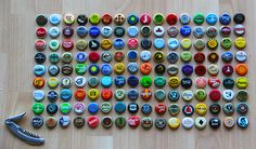 bottletops, on Things Organized Neatly Things Organized Neatly, Pop Tabs, Vintage Packaging, Bottle Top, Storage Organization, Vintage Designs, Eye Candy, Diy Projects, Beer