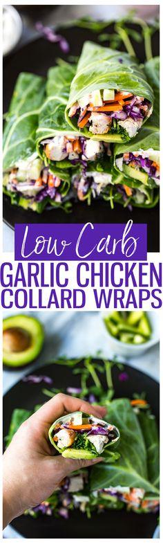 Low Carb Garlic Chicken Collard Wraps   Healthy lunch idea   Vegan garlic sauce!
