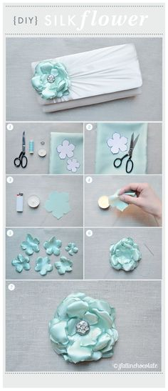 DIY SILK FLOWER Instructions in Italian, but the photos are easy to understand. Ribbon Art, Fabric Ribbon, Ribbon Crafts, Flower Crafts, Fabric Crafts, Cloth Flowers, Satin Flowers, Diy Flowers, Fabric Flowers