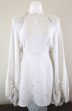 Fantastic-Vintage-1969-OSSIE-CLARK-Crepe-Couture-Line-Wedding-Dress-W-Hearts
