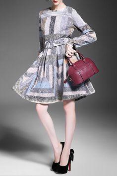 Alaroo - Long Sleeve Circle Skirt Dress w/ Belt in Khaki