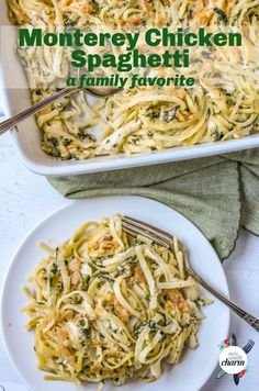 Monterey Chicken Spaghetti is an easy baked pasta dishpacked with chicken, spinach and pasta and topped with crispy fried onions. Top Recipes, Pasta Recipes, Chicken Recipes, Dinner Recipes, Cooking Recipes, Healthy Recipes, Healthy Dishes, Healthy Meals, Gastronomia