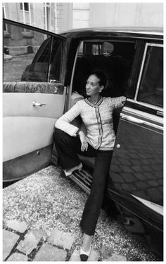 Marisa Berenson wearing a Chanel pant suit, Arnaud de Rosnay, 1969