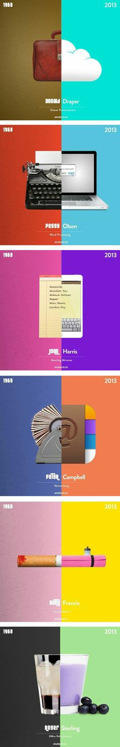 If Mad Men took place today 1963 vs 2013 Infographic Design Guerilla Marketing, Web Design, Creative Design, Media Design, Design Trends, Creative Advertising, Advertising Design, Mad Men, Performance Artistique