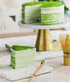 Matcha Mille Crepe Cake is made of thin layers of green tea crepes stacked together with fresh whipped cream in-between. This elegant and decadent cake will wow your guests when they see the rich green layers! Sweet Desserts, Holiday Desserts, Sweet Recipes, Cake Recipes, Dessert Recipes, Green Tea Crepe Cake, Matcha Green Tea, Green Teas, Tea Blog