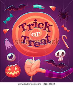 Big lollipop. Halloween poster background card. Vector illustration.