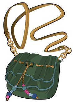 green clutch with golden handle and chain