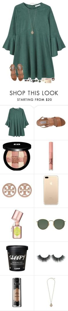 """""""shopping today with my besties """" by hopemarlee ❤ liked on Polyvore featuring MANGO, Steve Madden, Edward Bess, Too Faced Cosmetics, Tory Burch, Benefit, Ray-Ban, Kat Von D and Kendra Scott"""